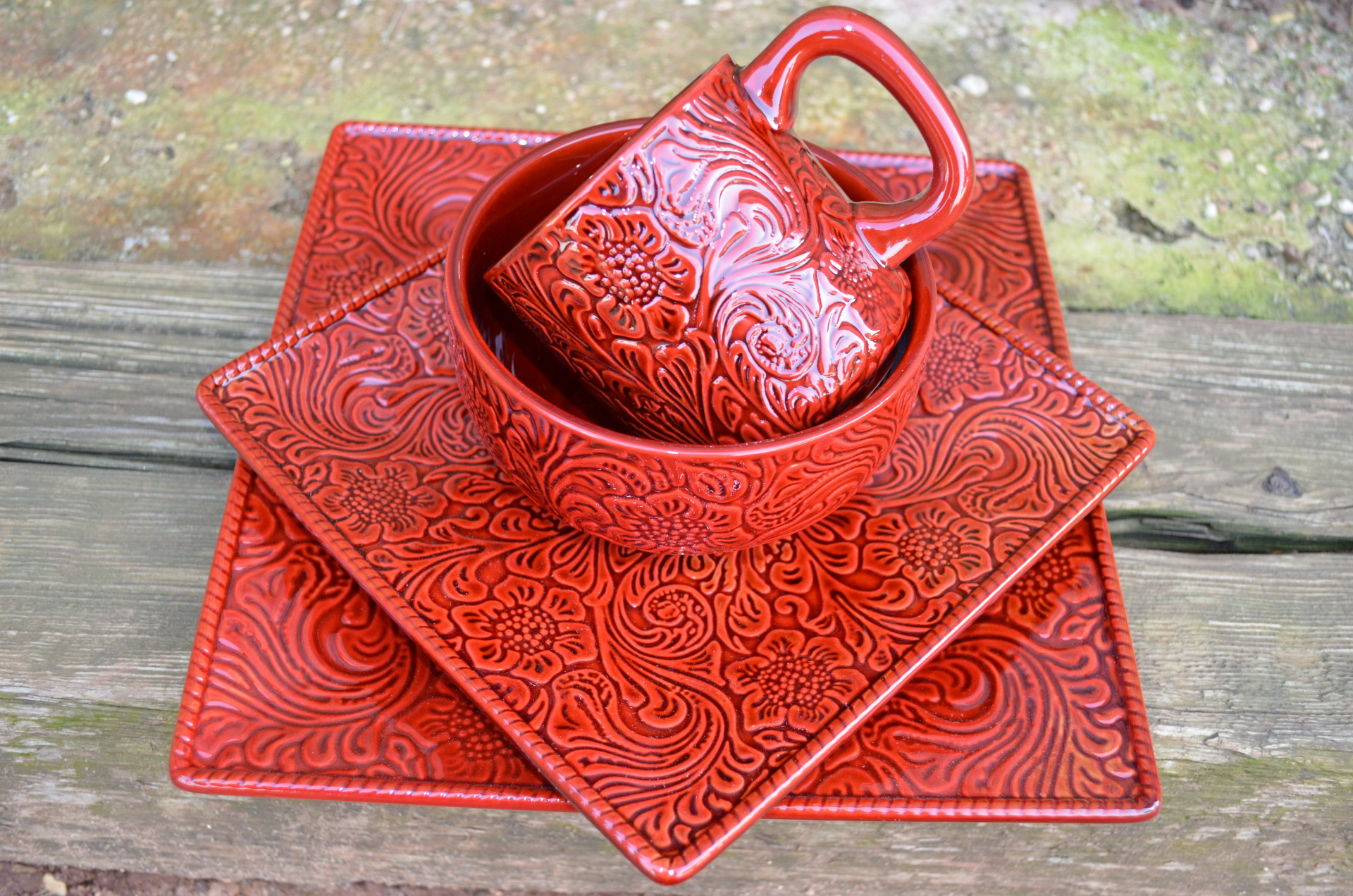 Burgundy Tooled Leather Dish Set